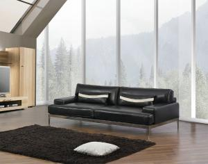 China Black Luxury Leather Sofa Set, Itailan Modern Leather Sofa Furniture on sale