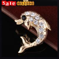 Crystal Rhinestone Golden Fish Pin Brooch,Cute Animal Golden Brooch China Factory Wholesal