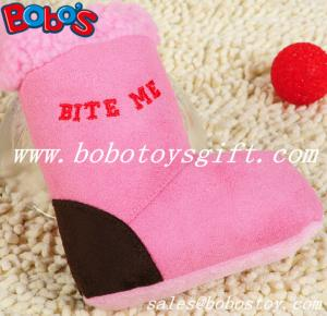 China Pink Plush Boots Pet Dog Toy With Squeaker on sale