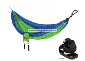 China Royal Green Parachute Nylon Hammock With Suspension System Backpack 114 Inches on sale
