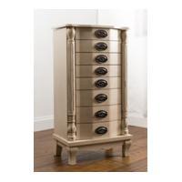 Metalic Finish Wooden Jewelry Box , Jewelry Storage Cabinet With Dressing Mirror