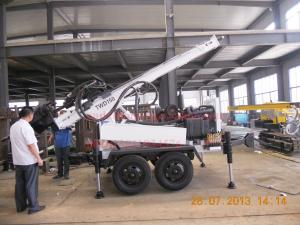 China Light weight trailer water well drill rig with dth and mud drilling capacity on sale
