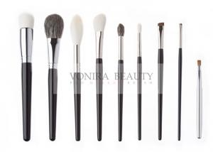 China Gorgeous Handmade Natural Animal Hair Makeup Brushes Luxe Glossy Black Handle on sale