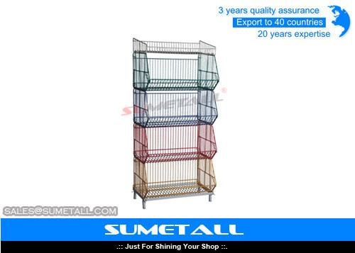 5 Tiers Colorful Stackable Wire Metal Shelving Wire Storage Racks For Promotional Products For Sale Promotional Display Counter Manufacturer From China 106160231