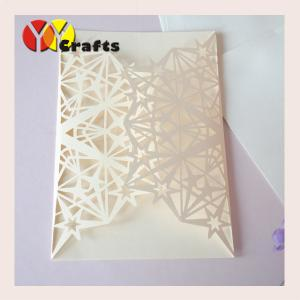 China Lucky star wholesale wedding invitation card pearl paper ivory color on sale