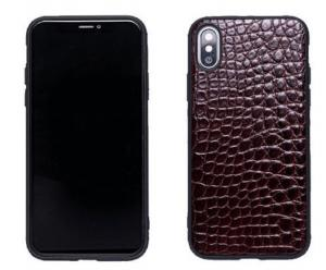 China Brown Alligator Texture Leather Phone Cases Durable For iPhone XS / XS Max on sale
