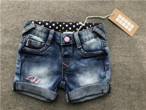China Casual Kids Denim Jeans Girls Mid Thigh Denim Shorts With Dots Woven Contrast Lining on sale