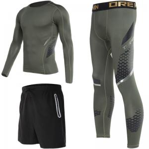 China Compression Tight Sport Suit For Man Green / Black Breathable High Elasticity on sale