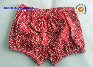 China White Dots Printed Baby Girl Jogger Pants , Size Customized Infant Girl Shorts on sale