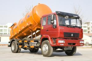 China 6 Wheels Sinotruk Sewage Suction Truck 266 Hp One Bed With 10 CBM Orange Tank on sale