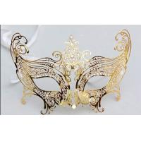 China 8 Inch Gold Metal Venetian Masks With Satin Ribbon For Carnival on sale