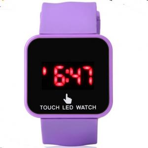 China Purple LED Digital Wrist Watch For Girl Plastic Case + Silicone Wristband OEM ODM on sale
