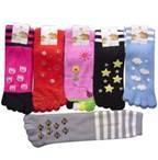 China Microfiber Flat Embroidery Five toe socks, sports toe socks with dots jacquard on sale