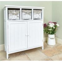 3 Wicker Basket Chest Of Drawers Stand White Wooden Kitchen Cabinets
