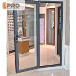 Long Life Span Tempered Glass Door , Double Swing Modern Aluminium Doors shower door hinges types exterior hinges