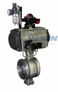 China V Notch Pneumatic Actuated Ball Valve , Motorized Ball Valve Nickel Plated on sale