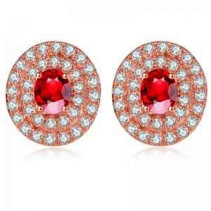 China Women Fine Gemstone Jewelry Ruby And Diamond Cluster Earrings South Africa Diamond on sale
