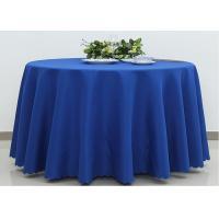 Dark Blue Wedding Textile Round Linen Table Cloths , 90 / 108 Inch Round Tablecloth