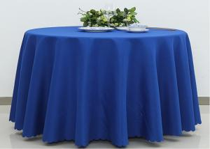 China Dark Blue Wedding Textile Round Linen Table Cloths , 90 / 108 Inch Round Tablecloth on sale