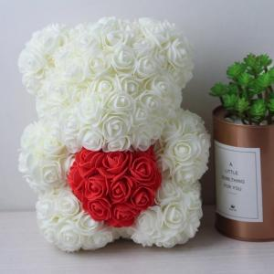 China Wholesale Preserved rose bear with heart popular size 25cm teddy bear of roses on sale