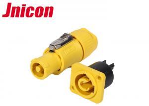 China Powercon Waterproof Plug Socket , Yellow IP44 Waterproof 3 Pin Plug And Socket on sale