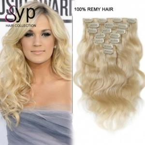 China Blonde Body Wave Virgin Clip In Hair Extensions for White Women 24 Inch # 613 on sale