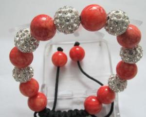 China Fashion Female Elegant Shamballa Crystal Beads Bracelets with Semi-precious Stones supplier