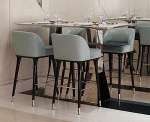 China Hotel Restaurant Mid Century Modern Bar Chairs / Upholstered Counter Height Bar Stools on sale