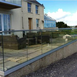 Aluminum U Channel Profile Glass Balustrade Railing with