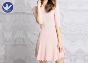 China Water Ripple Edge Pink Knitted Jumper Dress Half Sleeves Nipped Waist For Summer on sale