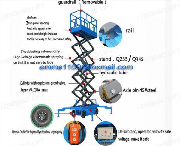 500kg SJY0 5-12 Scissor Lift Platform Hydraulic Work with