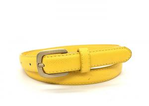 China Yellow 20mm Women's Fashion Leather Belts For Pants on sale
