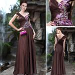A-line Floor Length Embroidery V-neck Mature Evening Dresses / Bridesmaids Dress -30352