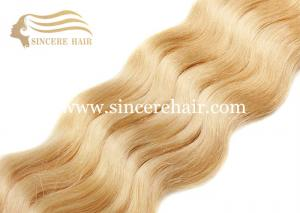 China 24 Blonde CURLY Hair Weft Extensions for Sale, 60 CM Blonde #613 Curly Remy Human Hair Weave 100 Gram / Piece For Sale on sale