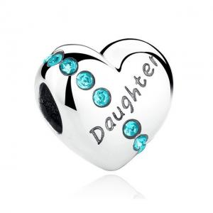 China Green CZ 100% 925 Sterling Silver Heart Charms For Bracelets Family Tree Series on sale