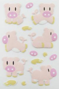 China Fuzzy PVC pink cute animal stickers / 3D Puffy Stickers porkling Dimension on sale