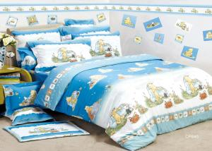 Blue Flat Kids Bed Sheet Sets Single / Double Reactive Eco Friendly For  Teenager