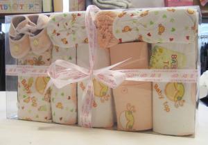 China Custom Eco -Friendly Printing / Dyeing Organic Cotton New Born Baby Baptism Gift Sets  on sale