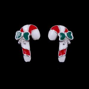 China Christmas Model Silver Jewelry Earrings Candy Cane Walking Stick Decoration on sale