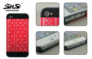 China Apple iphone Protective Cases Plastic PC Cover Pasted Metal for iPhone 4 / 4S on sale