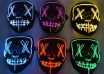 EL Wire Halloween LED Light Up Face Mask , Scary Cosplay Led Costume Mask