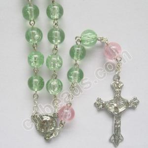 China Christams cracle glass rosary prayer beads 5 decade necklaces on sale