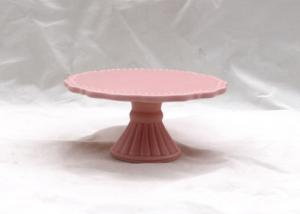 China Pink Floral Cake Stand , Custom Size Ceramic Cake Holder For Gift Party / Wedding on sale
