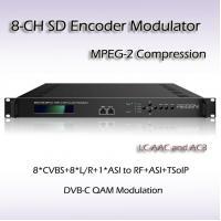 China Eight-Channel CVBS TO 2*DVB-T MPEG-2 SD Encoding Modulator REM7208 on sale