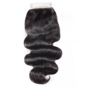 China 8A Brazilian 4x4 Lace Closure Human Virgin Hair Body Wave Natural Black Color on sale