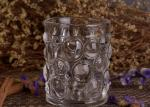 Transparent Thick Clear Glass Candle Holders Set With Nailed Pattern