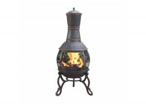 China Outdoor Antique Cast Iron Garden Chimney European / American Wood Burning Fireplace on sale