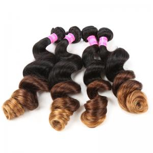 China Blonde 1b/4/27 3 Tone Remy Ombre Hair Extensions Brazilian Hair Loose Wave on sale