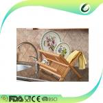 Eco-friendly bamboo folding dish drying rack for kitchen
