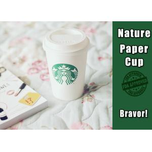 China Thermal Starbucks Paper Coffee Cups 16 Oz White Color High Smoothness on sale